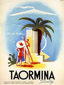 Taormina, Sicily, Italy - Couples - Retro travel Poster - Vintage Poster Poster by Studio Grafiikka Vintage Italian Posters, Poster Vintage, Vintage Travel Posters, Vintage Postcards, Vintage Photos, Vintage Art, Taormina Sicily, Italy Tourism, Sicily Italy