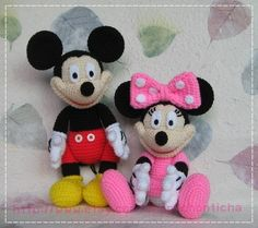 Mickey mouse and Minnie mouse 10 inches - PDF amigurumi crochet pattern by Chonticha on Etsy