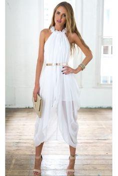 White Elegant Sheer Chiffon Hi Low Dress