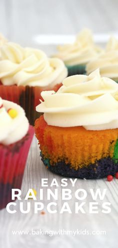 Rainbow cupcakes are the ultimate cupcake for colour loving kids. I love how fun, bright and colourful they are and so did my kids. #rainbow #cupcakes #cupcakes for kids #easy recipe #baking for kids #colourful Easy Baking For Kids, Rainbow Cupcakes, Toddler Fun, Cookie Decorating, Baking Recipes, Easy Bakes, Toddlers, Cheesecake, Kids Rainbow