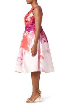 Pink Petal Print Dress by ML Monique Lhuillier