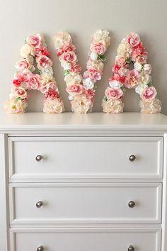 Baby Girl Nursery Decor - Flower Letters - Monogram - Floral Nursery Decorations - Baby Shower Decor Ideas - Baby Gift - Baby Girl Present #babies #babygirl #pregnancy #nurserydecor #babygirlnursery #girlbabyshower #babyshowers