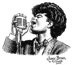 James Brown by R. James Brown, Fritz The Cat, Bd Art, Comic Book Layout, Alternative Comics, Robert Crumb, Music Drawings, Music Illustration, Hip Hop