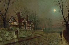 John Atkinson Grimshaw, A CHESHIRE ROAD BY MOONLIGHT