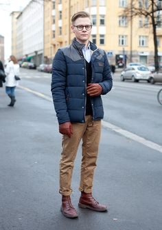 """""""I like muted colours, details that are emphasized by otherwise controlled look and mixing new with old.  Now I'm wearing second hand with Clarks shoes."""""""