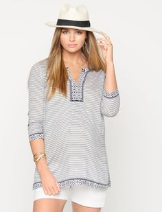 A Pea in the Pod 3/4 Sleeve Embroidery Maternity Tunic in Blue/White Stripe
