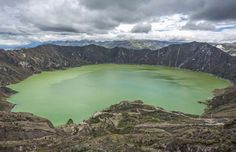 Laguna Quilotoa, Ecuador. High up in the mountains, about 4,000 metres with a diameter of about 3km. Depending on the weather conditions, you can see volcanos behind the rim and the water will turn almost green.