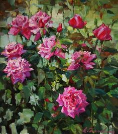 Personal site of artist Azat Galimov. Flowers and Fruits Garden Painting, Garden Art, Painting Flowers, Pearl Wallpaper, Autumn Rose, Rose Frame, Beautiful Rose Flowers, Bouquet, Artist Painting