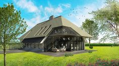 Veel daglicht in moderne boerderij door grote ramen en dakramen. Barn House Design, Dutch House, Pavilion, Future House, Gazebo, Architecture Design, House Plans, New Homes, Farmhouse