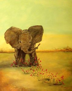 Positive Art Print of a Painting Elephant, 11x14, Cute Unique Wall Art, Encourage kids creativity