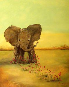 Inspirerende Art print van een kleine olifant op de savanne  Koop één prent en ontvang een andere van dezelfde grootte of kleinere gratis koop nu