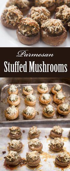 Classic stuffed mushrooms with shallots, garlic, walnuts, breadcrumbs ...