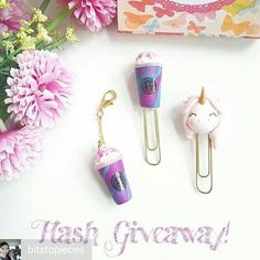 These are so cute!!  @Regrann from @bitstopieces -  Just because #starbucks has a new #starbucksunicorn #frappuccino#b2pgiveaway #bookmark #bookmarks #regrann #giveaway #rainbow #clips #unicorn #kawaii #cute