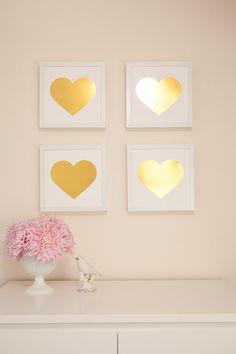 Gold Foil Heart Print 9x9 Home Decor Metallic by TarynStMichele