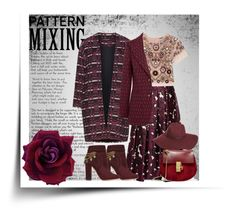 """""""Red-violet pattern mixing"""" by goldencat ❤ liked on Polyvore featuring Manon Baptiste, Oscar de la Renta, Needle & Thread, Chloé, Aquazzura, Gucci, Halogen, red and patternmixing"""