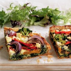 Roasted vegetable and feta tart food recipes Vegetable Tart, Vegetable Dishes, Vegetable Recipes, Vegetarian Recipes, Healthy Recipes, Healthy Savoury Snacks, Healthy Foods, Feta, Quiche