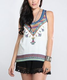 This White & Blue Geometric Racerback Tank by Flying Tomato is perfect! #zulilyfinds