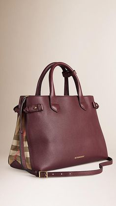 Burberry Mahogany Red The Medium Banner in Leather and House Check - The Banner in smooth leather and English-woven House check cotton. Made in Italy, the bag is inspired by equestrian styles from the Burberry Heritage Archive. Discover the women's bags collection at Burberry.com