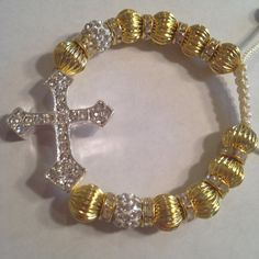 Gold Beaded Sideways Cross Bracelet with Rhinestone small cross SHIPS TODAY Gift inexpensive on Etsy, $8.00