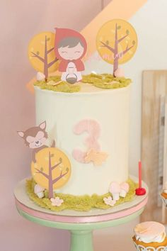Don't miss this adorable Little Red Riding Hood birthday party! The birthday cake is wonderful! See more party ideas and share yours at CatchMyParty.com Woodland Cake, Woodland Party, Bridal Shower Cakes, Baby Shower Cakes, Girl Birthday, Birthday Parties, Birthday Cake, Red Riding Hood Party, Rustic Cake