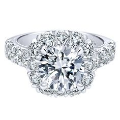 18K White Gold French Pave Large Halo Diamond Engagement Ring