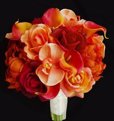 Floramatique Natural Touch Orange Calla Lilies and Roses Bouquet