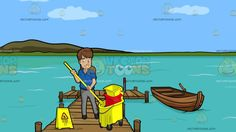 A Female Janitor Wringing Out A Mop At A Long Wooden Dock On A Lake :  A woman with brown hair wearing a blue polo shirt gray pants dark gray belt and shoes smiles while placing the yellow mop in her hands into the yellow and red mop bucket with wringer a yellow wet floor sign is placed beside her. Set in a wooden lake dock with a boat beside it during a sunny day calm blue green water and a green island surround the environment.