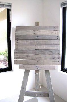 pallet furniture ideas   pallet-recycling-ideas-mini-mocha-recycled-pallet-art-easel-80368 ...