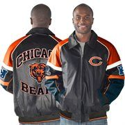 Chicago Bears Home Team Full Zip Faux Leather Jacket - Navy Blue