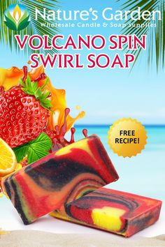 Free Volcano Spin Swirl Soap Recipe by Natures Garden.