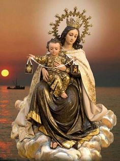 Our Lady of Mt. Carmel and the Child Jesus. Catholic Pictures, Religious Photos, Religious Art, Sainte Therese, St Therese, Blessed Mother Mary, Blessed Virgin Mary, Mont Carmel, Lady Of Mount Carmel