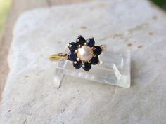 Pearl Blue Sapphire Ring 1980s vintage by LuceesTreasureChest