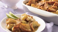 Bring back memories of Grandma's kitchen with a comforting bread pudding with a rich caramel sauce.