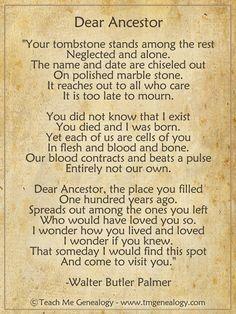 """Dear Ancestor"" Poem by Walter Butler Palmer ~ Teach Me Genealogy"