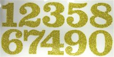 DIY 1.25-Inch Iron-On Glitter Numbers in Gold or Silver