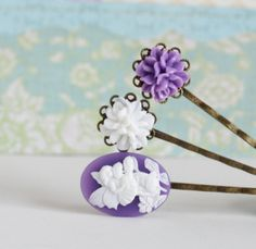 Purple and White Bobby Pins Antique Brass With by JacarandaDesigns, $12.00