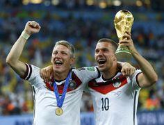 Bastian Schweinsteiger and Lukas Podolski World Cup 2014