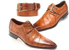 Plain Toe Hand Painted Shoes and matching Belt from Mauri of Italy