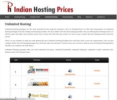 Indianhostingprices Is here to help you in selecting the best Hosting Provider for your Website.Please Visit http://www.indianhostingprices.in