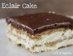 Eclair Cake! EXTREMELY easy and delicious! One of my familys favorite desserts!