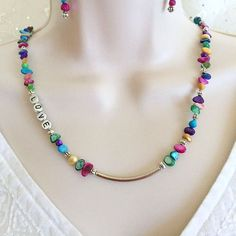 Beaded Love Necklace set, Love necklace, Shell necklace set, Multi Color necklace, Mother of Pearl necklace, Valentine Jewelry