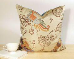 Decorative pillow cover, Jacquard, Bird, Modern Jacobean, Multicolor, Cream, 22x22 - $46.00 via Etsy