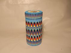 Peyote Stitch Beaded Glass Container - Native American Church