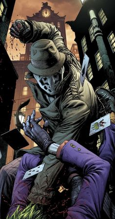 "longlivethebat-universe: ""Rorschach vs The Joker Doomsday's Clock "" Comic Book Characters, Comic Character, Comic Books Art, Comic Art, Book Art, Arte Dc Comics, Dc Comics Art, Der Joker, Doomsday Clock"
