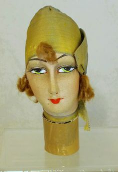 RARE-FRENCH-ART-DECO-FLAPPER-BOUDOIR-DOLLS-HEAD-WITH-TURBAN-AND-KISS-CURLS