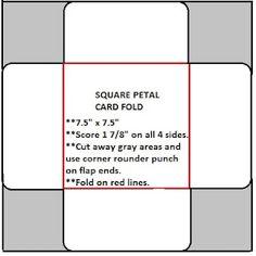 Pattern for square petal card (graduation card)