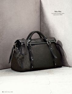 Miu Miu- Top-handle handbag in black nappa leather. $1950. #holtsmag