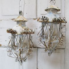 Shabby cottage scroll electric swag lantern set hanging pendant lights painted pale French blue rusty lighting fixtures decor anita spero