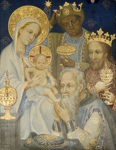 The Adoration of the Magi* (polyptych, panel British (English) School- Magdalen College School Religious Images, Religious Icons, Religious Art, La Madone, Blessed Mother Mary, Three Wise Men, Holy Mary, Madonna And Child, Jesus Pictures