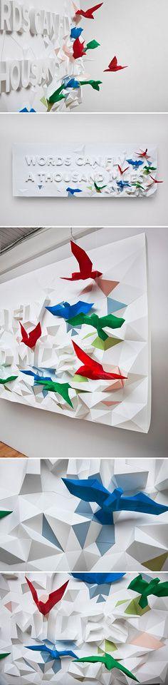 采蘑菇的企鹅君采集到展厅 Web Design, Graphic Design, Journal Du Design, Artistic Installation, Art Object, Paper Cutting, Signage, Objects, Gift Wrapping
